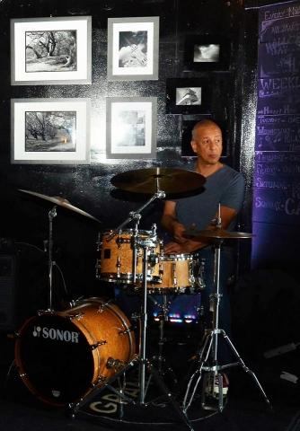 Jae Sinnett drumming at Granby Social Club in Norfolk, VA in September 2017