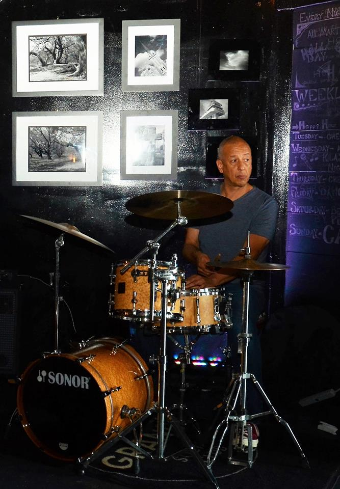 Jae Sinnett drumming at Granby Social Club in Norfolk, VA in September 2017